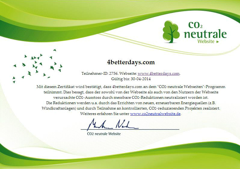 Eine Initiative mit - hoffentlich - großem Erfolg. Die CO2 neutrale Website